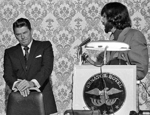 Irving Hall debates Gov. Ronald Reagan